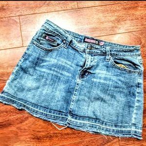 Bubblegum denim mini-skirt